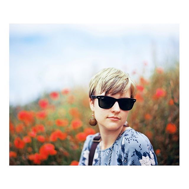 I'm so glad to have a wife who can rock the 1960s hippie look, field of poppies and all. #pentax #film #kodak #lindisfarne