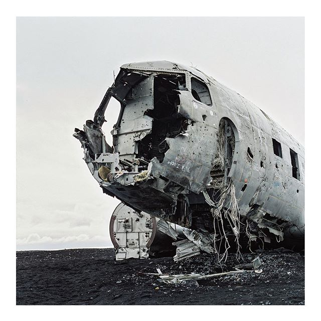 Standing inside this plane husk in the middle of a black sand wasteland to hide from the rain will be one of those things I remember forever. #hasselblad #fujifilm #film #iceland