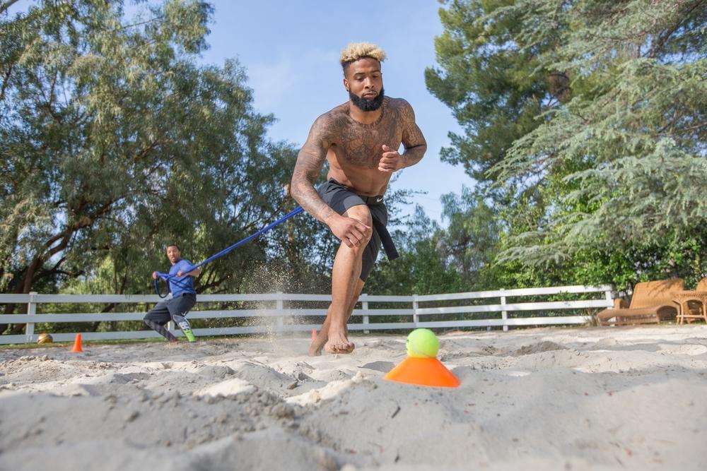 Jamal Liggin Training Giants WR Odell Beckham Jr.