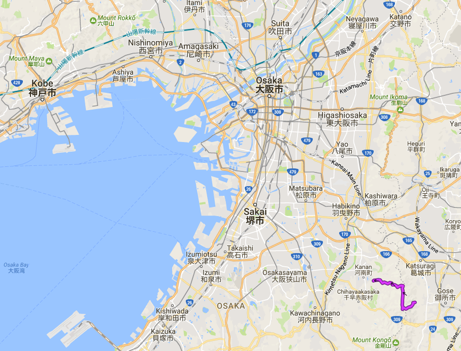 Hiking course in relation to Kobe, Osaka and Kansai International Airport.