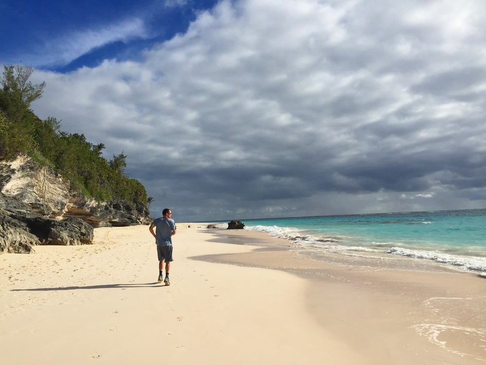 Dan running in Bermuda