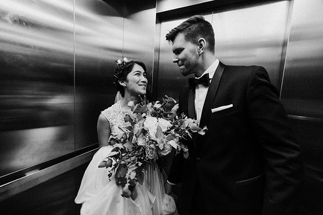 Just-married-jumps into elevators are fun. 😍