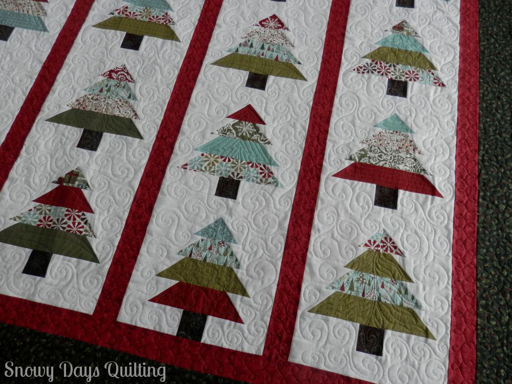 custom quilted christmas trees quilt