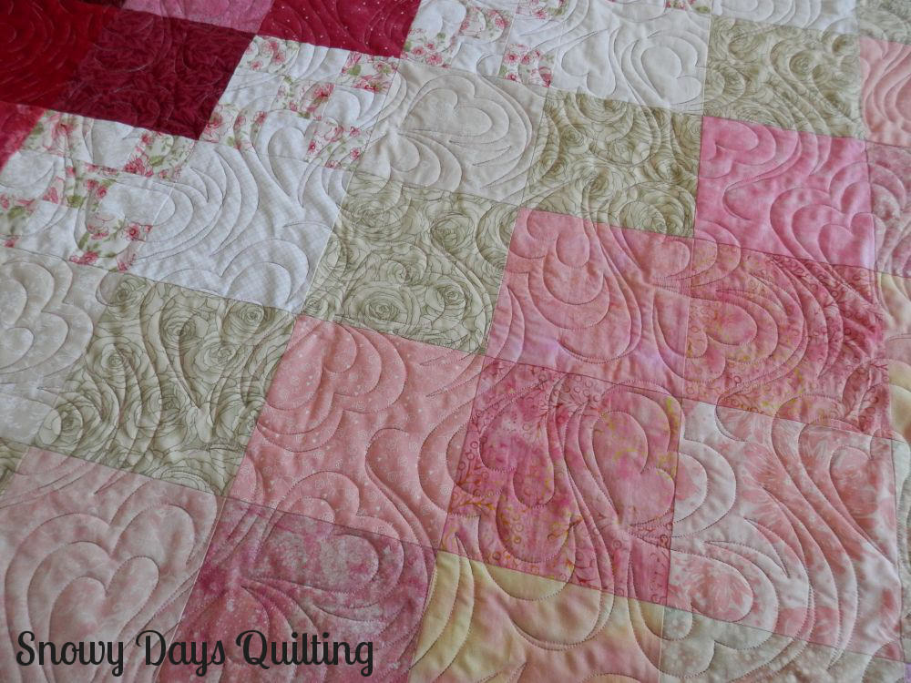 Patchwork Heart Quilt quilted with Heart to Heart pantograph
