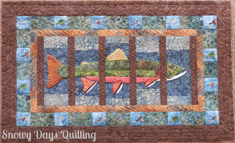 custom quilted about trout quilt