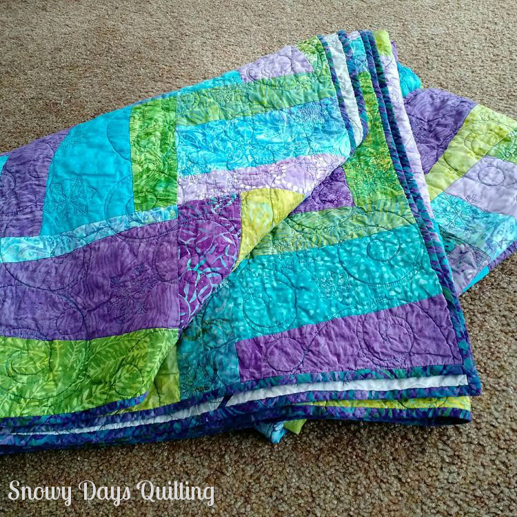 blue green and purple quilt