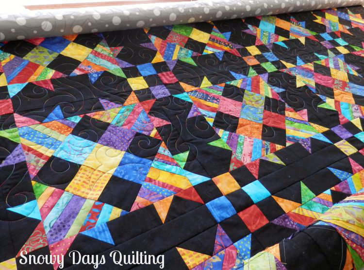 rainbow Talkin' Turkey quilt with Winds of Change quilting pantograph