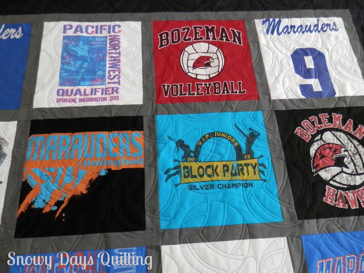 Quilting Design:  Modern Volleyball by Jessica Schick  Quilt Maker:  Bobbi Bridgeman (that's me!)  Quilt Pattern:  None  Notes:  I made this quilt on commission for Nancy. She gave it to her daughter at senior night for her college volleyball team. You can read more  here , and even see a picture of Rachel with her quilt.