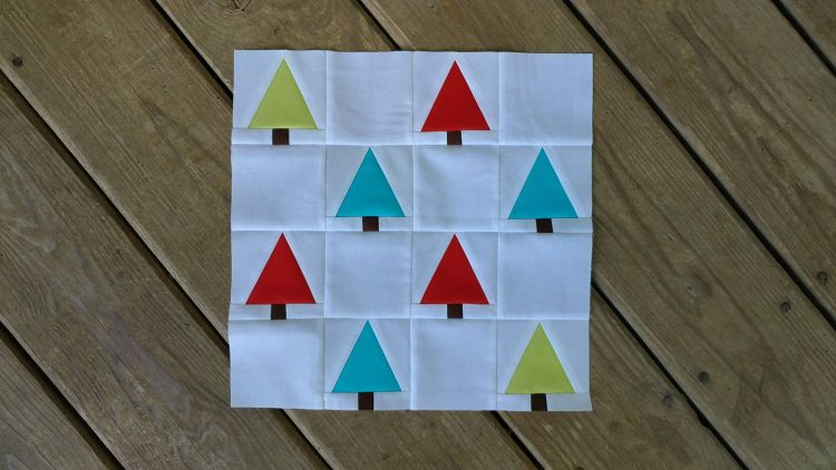 Slice of Pi Quilts tree farm quilt block