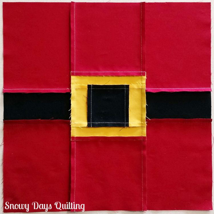Santa's Belt quilt block pressing directions