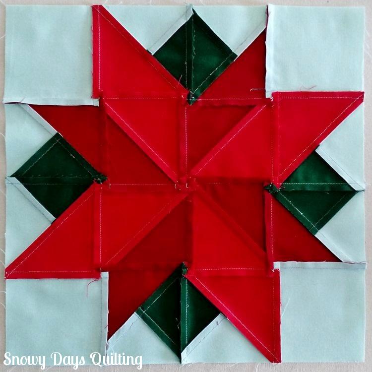 poinsettia quilt block spinning seams