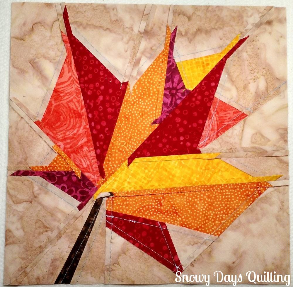 back of autumn leaf quilt block