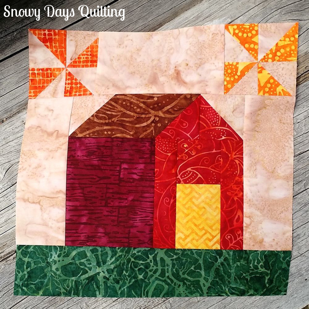 Autumn Harvest Barn pieced quilt block