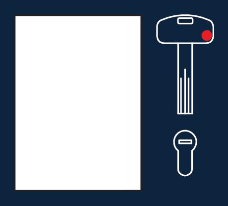 Cada Puerta Acorazada SegureStil lleva un juego de llaves individual y exclusivo. Este juego consta de una llave de instalación/obra y un paquete completamente cerrado que contiene las 5 llaves definitivas, más una tarjeta con un número de serie para la realización de copias futuras.
