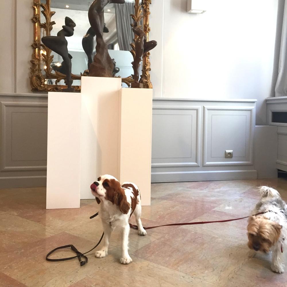 Admirant les sculptures de la galerie dans la cour de l'Hotel d'Europe