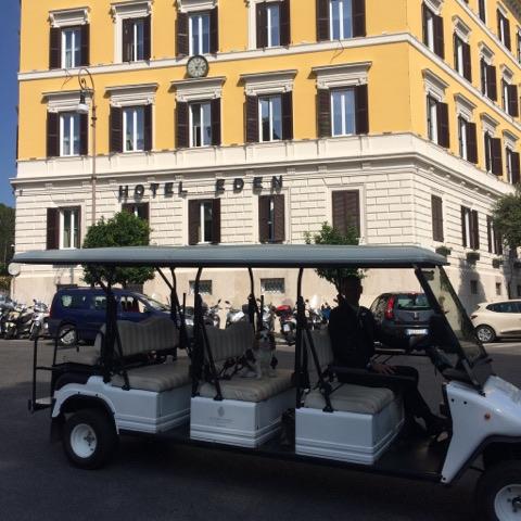 Toutes les 30mns, une voiture de l'Aldrovandi vous dépose ou vient vous chercher gratuitement à 100m de la Piazza di Spagna.