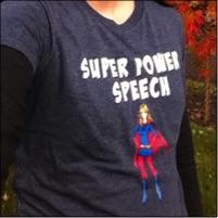 CC in her custom logo shirt! Super Power Speech