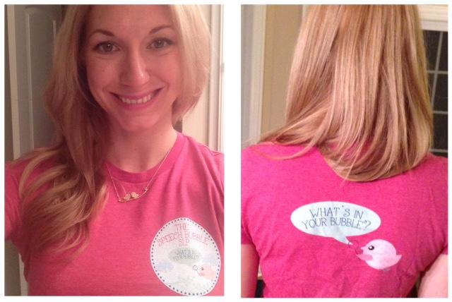 Maureen in her custom logo shirt! Speech Bubble Blog