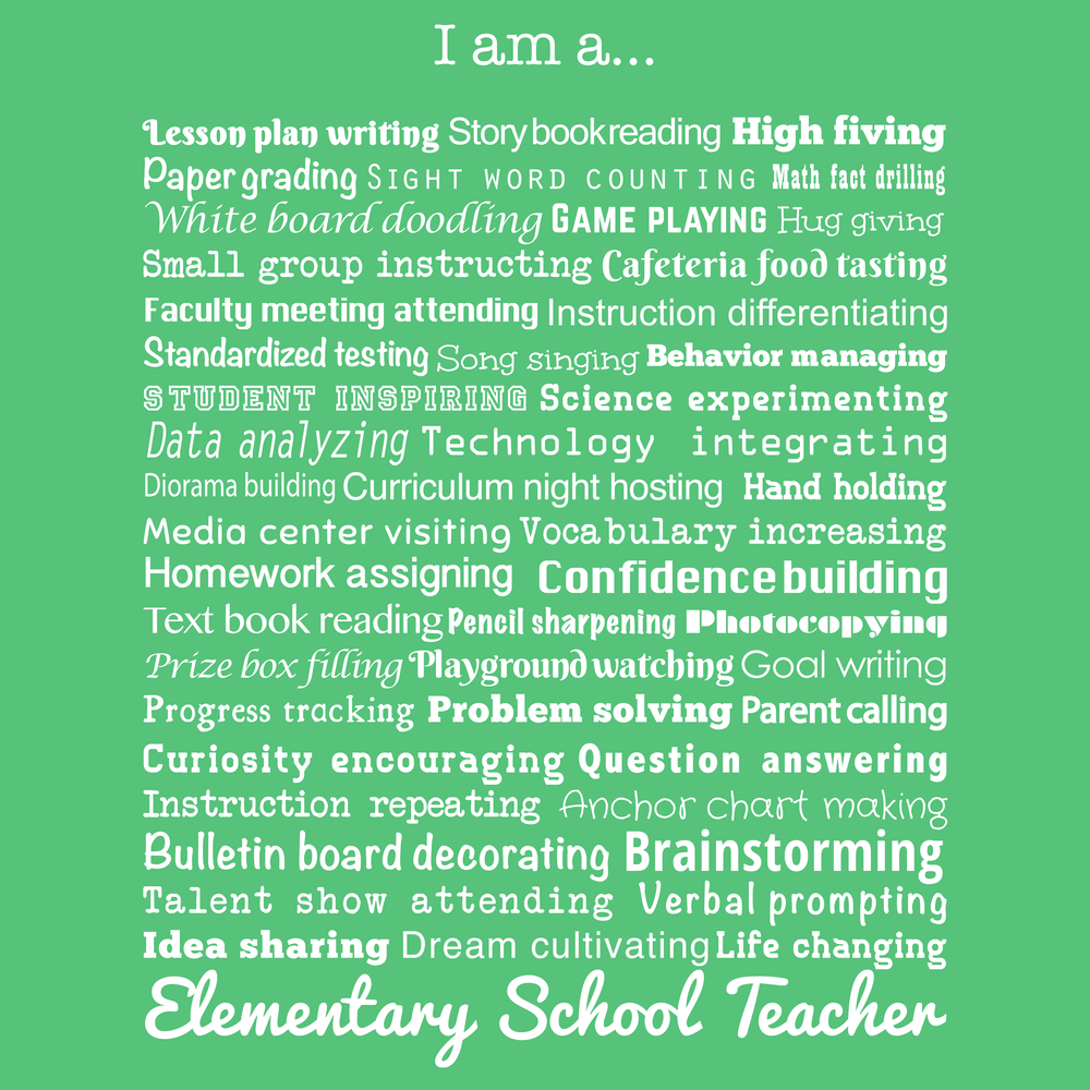 Elementary School Teacher job description design. This is great for showing people what you do on your new favorite t-shirt or hoodie.