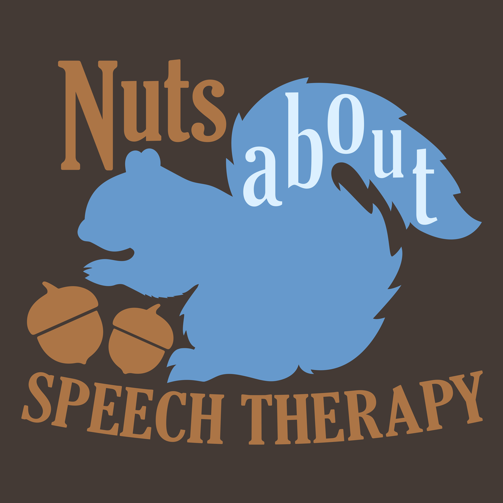 Nuts about Speech Therapy. Like squirrels, nuts, puns, speech? This design can be printed on your new favorite tee, hoodie, mug, tote, and more!