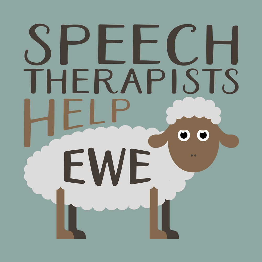 Speech Therapists help ewe. Cute & fun speech therapy shirts, mugs, hoodies, and more.