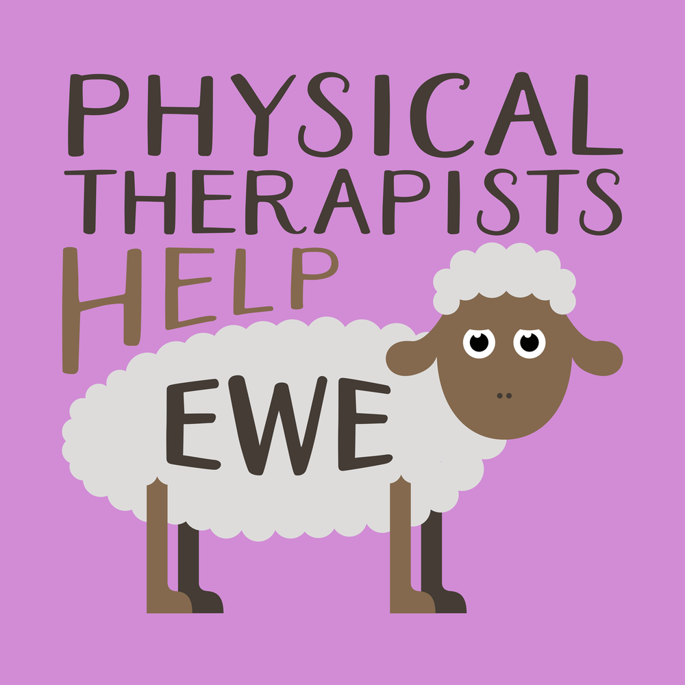 Physical therapists help ewe! Physical therapist shirts, hoodies, mugs, totes, and more!
