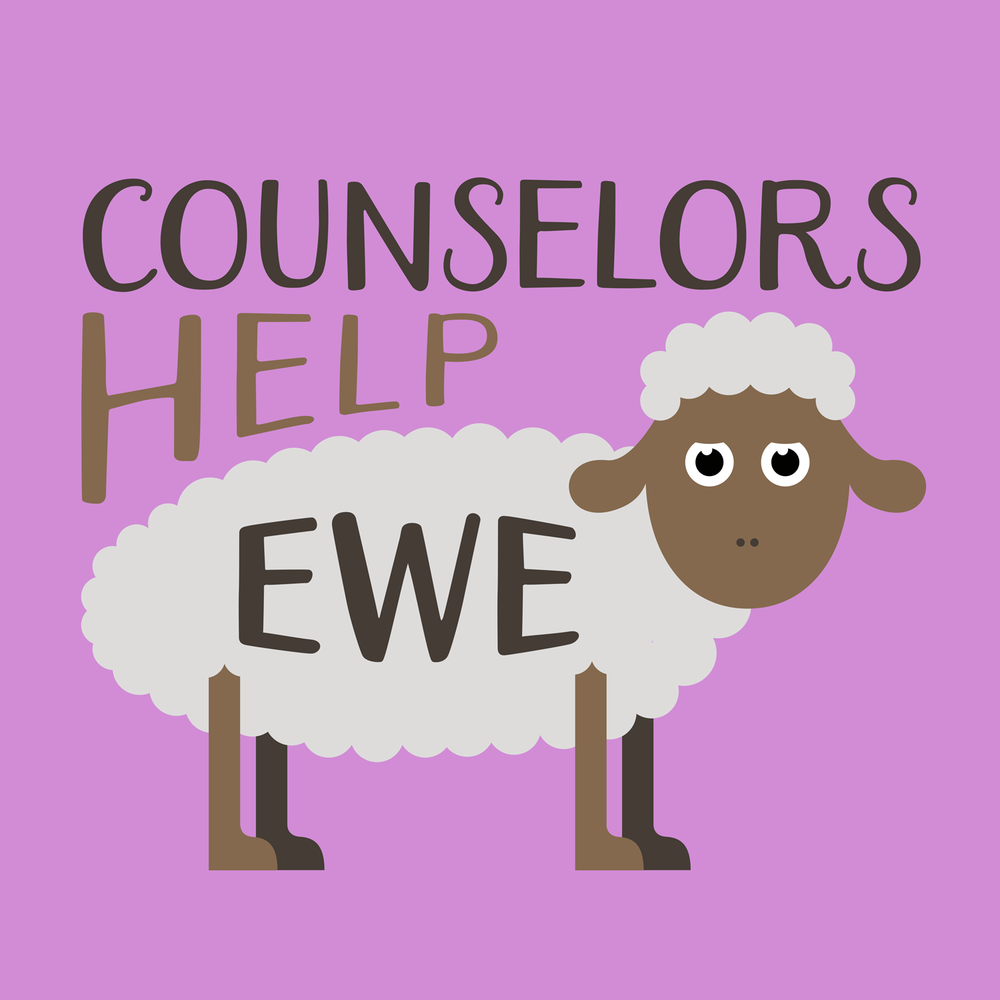 School counselors help ewe! Counselor shirts, hoodies, mugs, tote bags, and more!