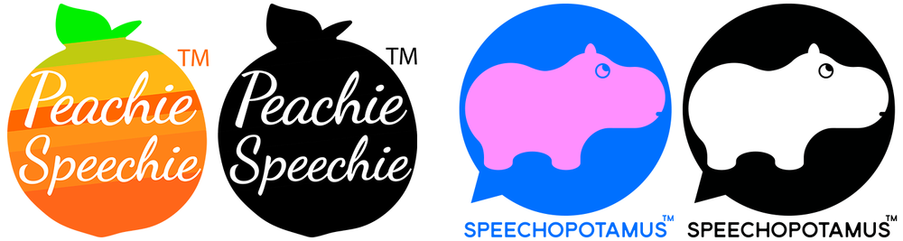 Peachie Speechie Logo and Speechopotamus Logo