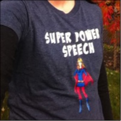 CC in her custom logo shirt!    Super Power Speech