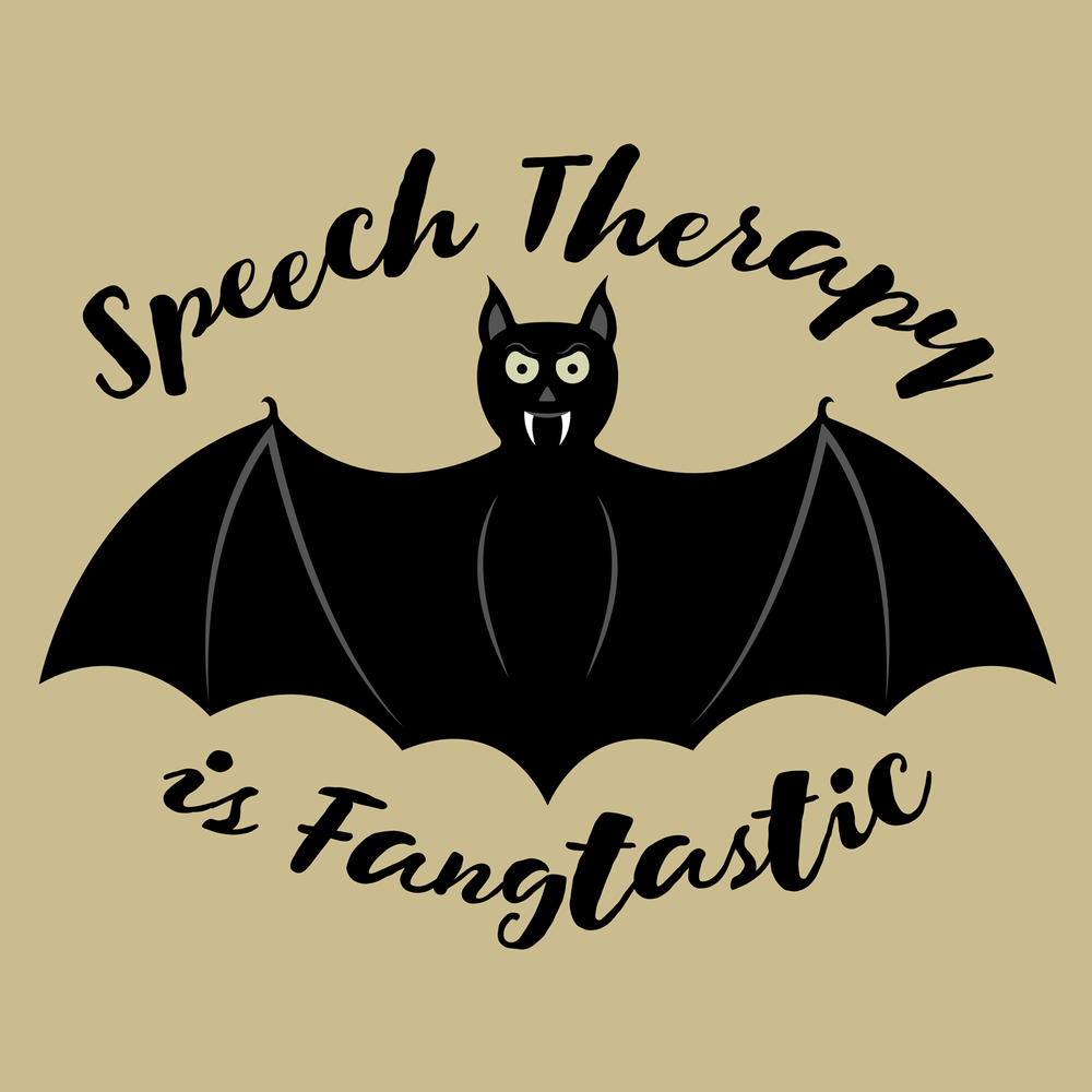 Speech therapy is fangtastic! Happy Halloween from Peachie Speechie! SLP holiday apparel
