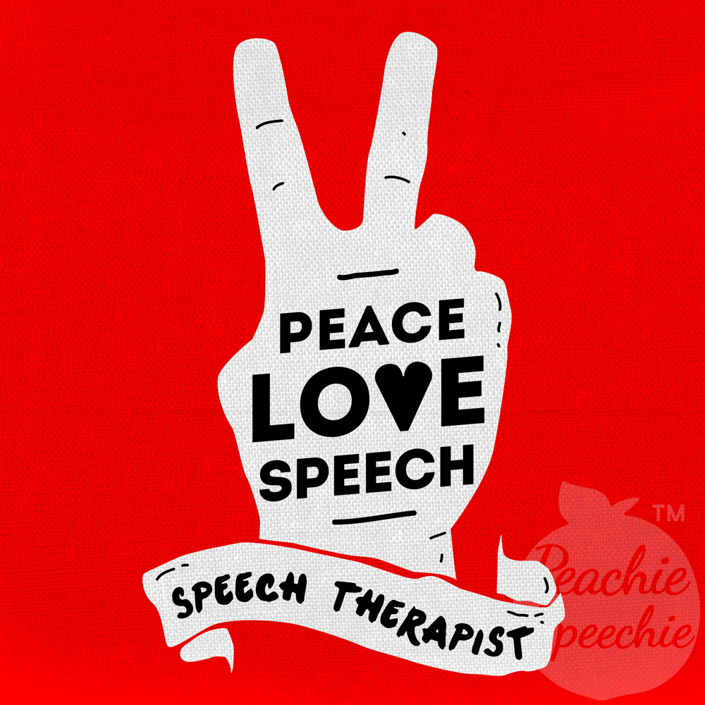 Retro peace love speech hand for a Peachie Speechie shirt, mug, bag, tote, and more!