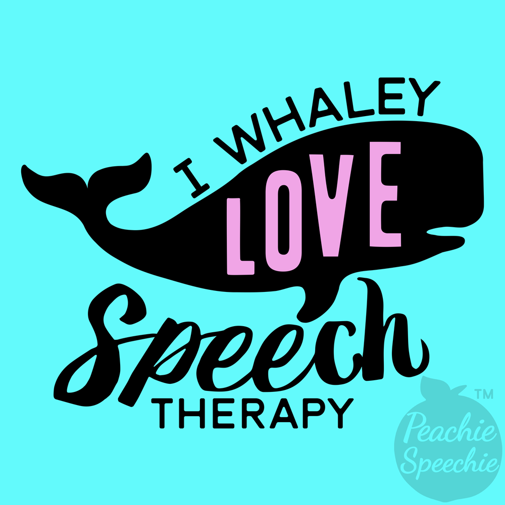 I whaley love Speech Therapy. I also love puns! This is a fun nautical whale pun for SLPs. It's available on t-shirts, hoodies, sweat shirts, tote bags, mugs, mouse pads, and more! Perfect for your favorite SLP / speech therapy swag!