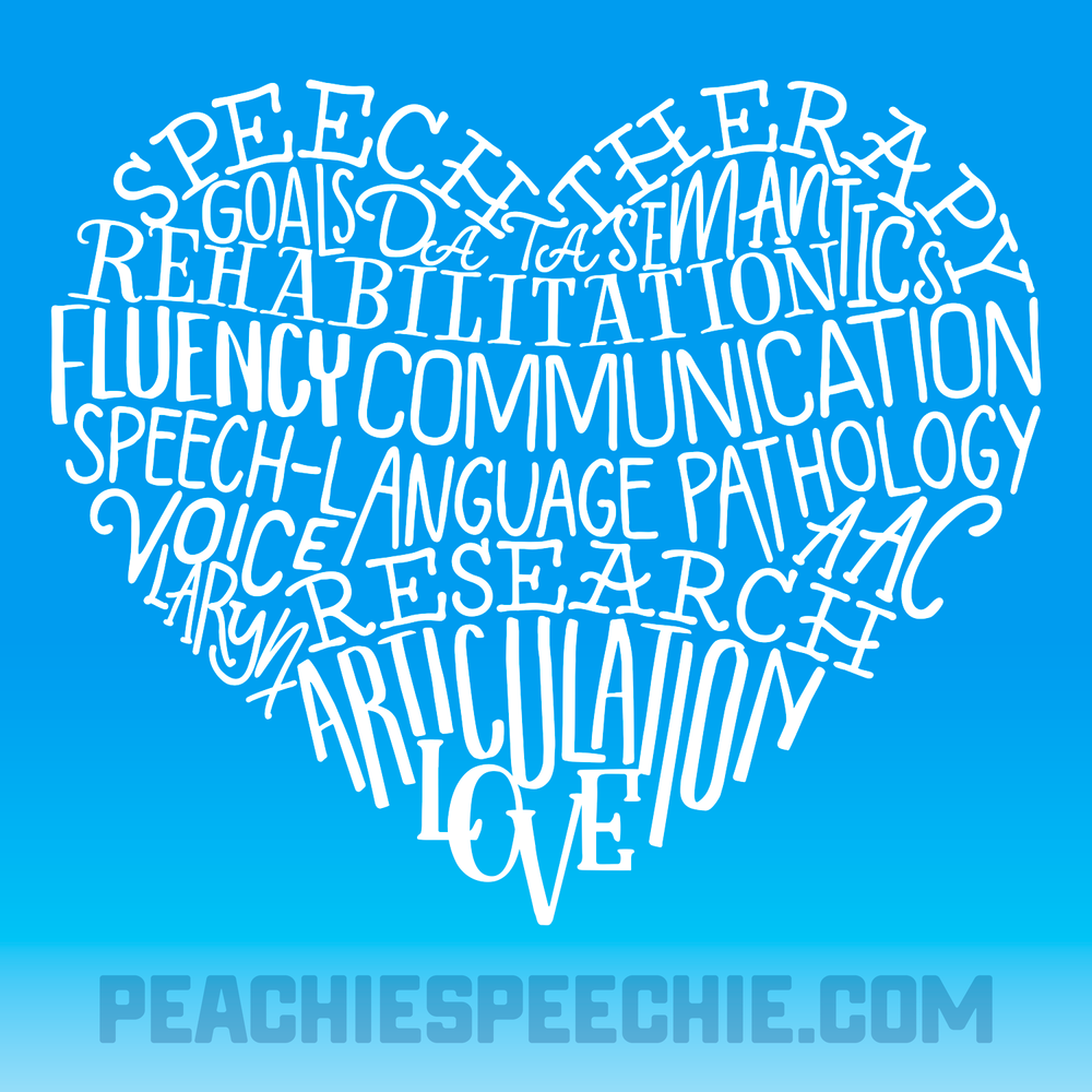 Celebrate Better Hearing and Speech Month in style with another typographic design by Peachie Speechie! The perfect shirt for a speech language pathologist!
