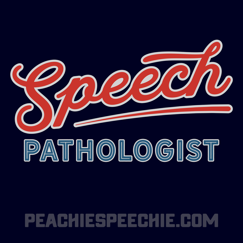 Speech Pathologist baseball tee from peachiespeechie.com