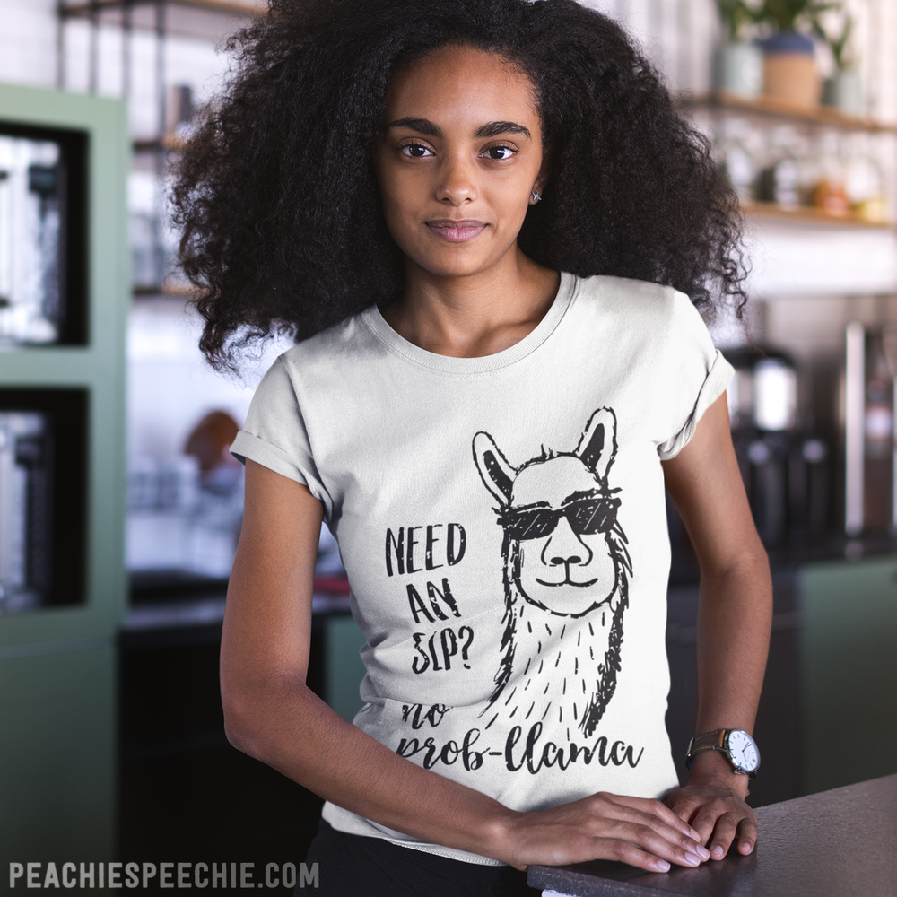 Need an SLP? No prob-llama! See more fun stuff at peachiespeechie.com