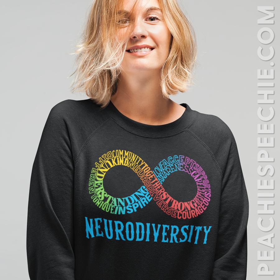 Neurodiversity typographic words infinity shirt, sweatshirt, and more from peachiespeechie.com