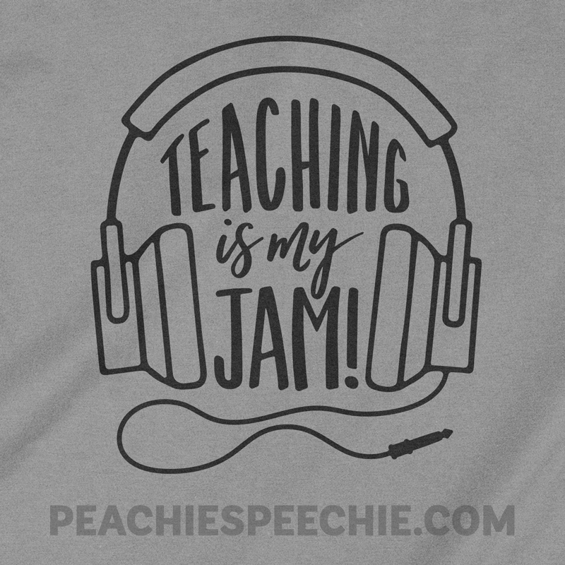 Teaching is my jam! What's yours? Love music? Love teaching? This is also great for teacher gifts. See more at peachiespeechie.com
