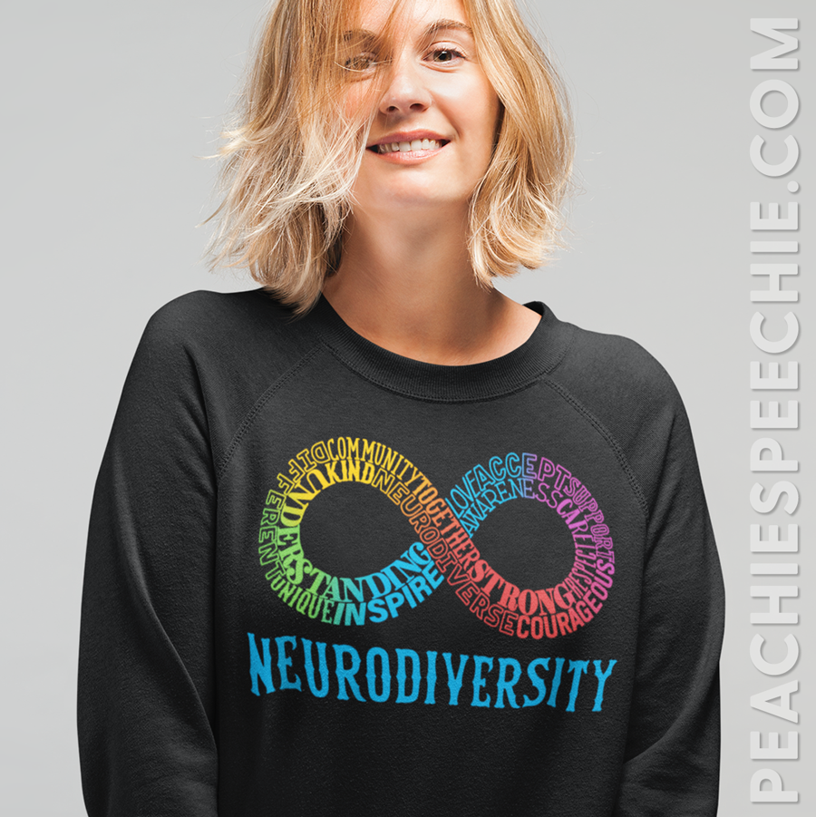 Neurodiversity colorful words typographic apparel by Peachie Speechie