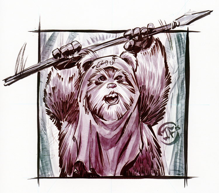 Ewok Watercolor sketch