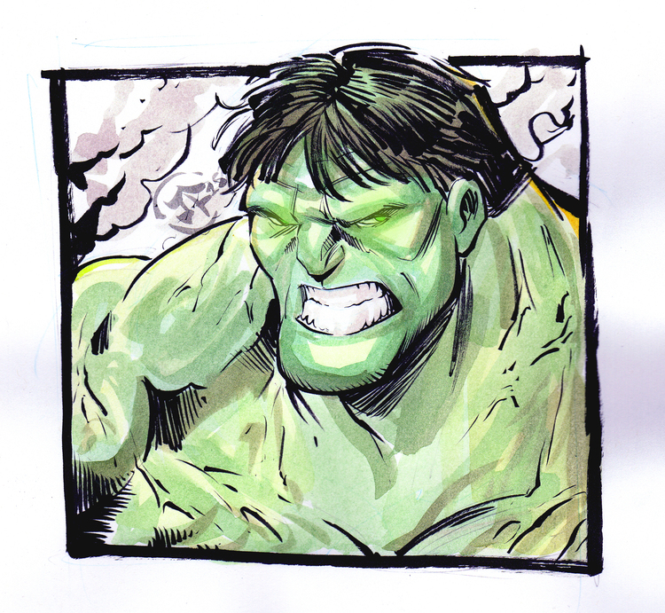 Hulk Watercolor Sketch