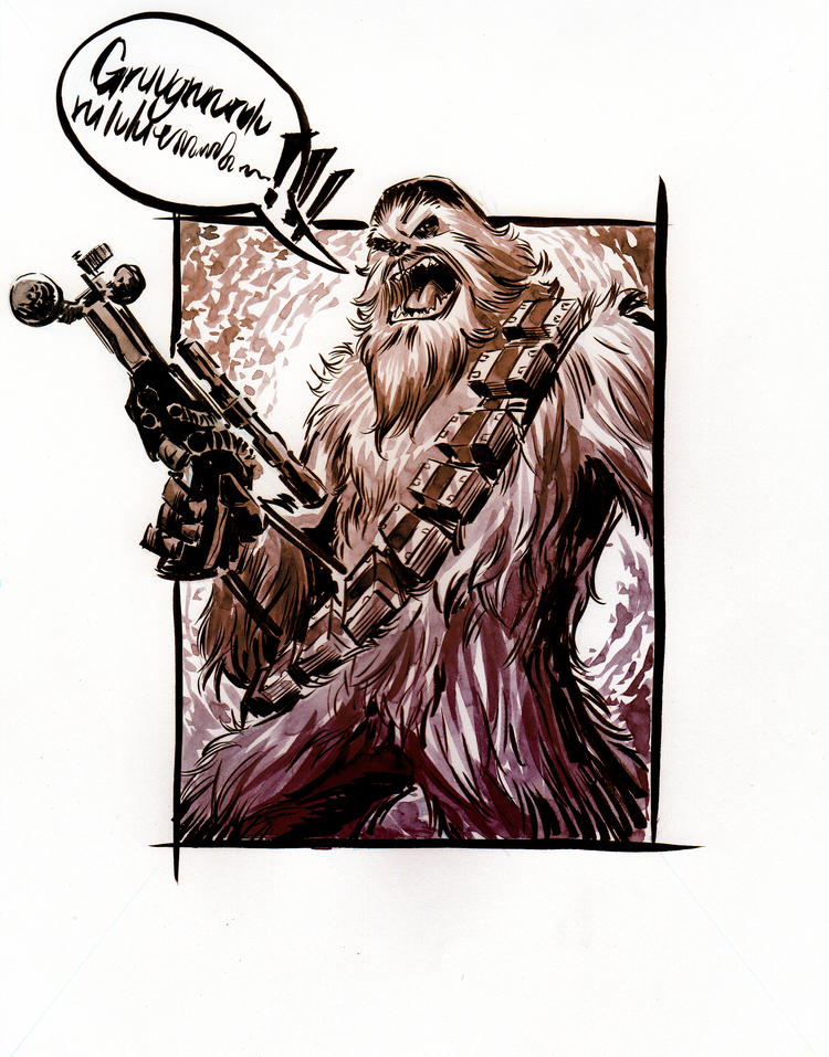 Chewbacca Watercolor Sketch