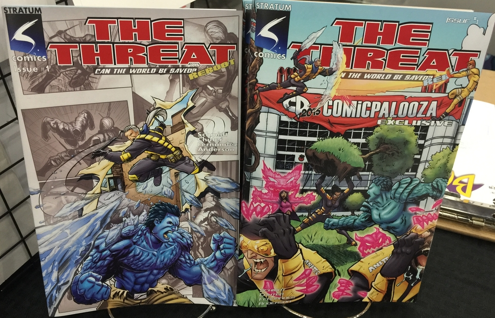 "Both covers for ""The Threat""."