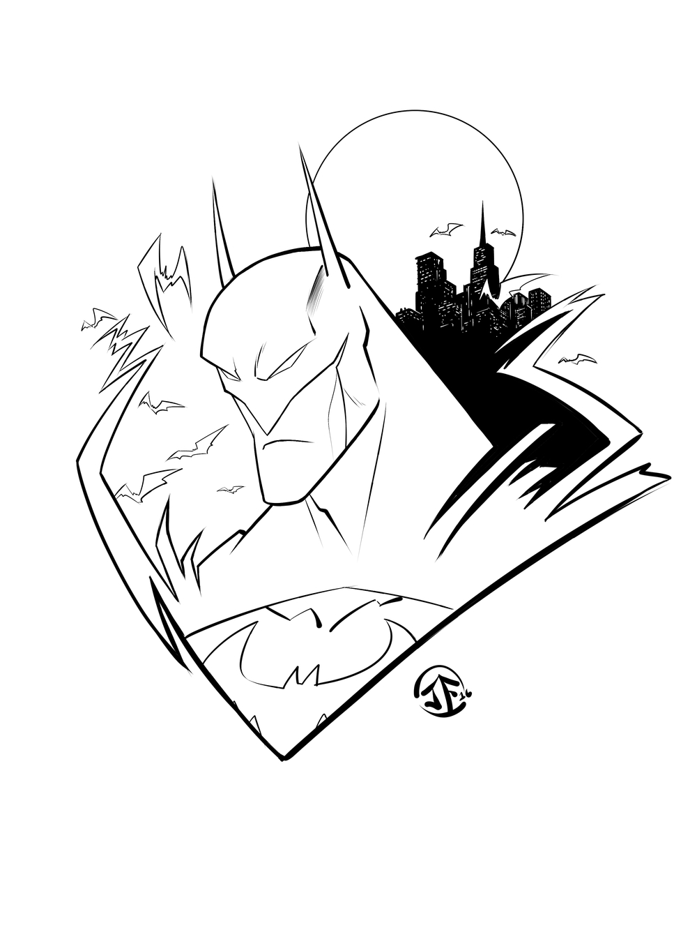 Batman Line Art