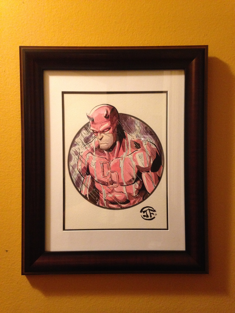 Daredevil Watercolor Sketch - Framed