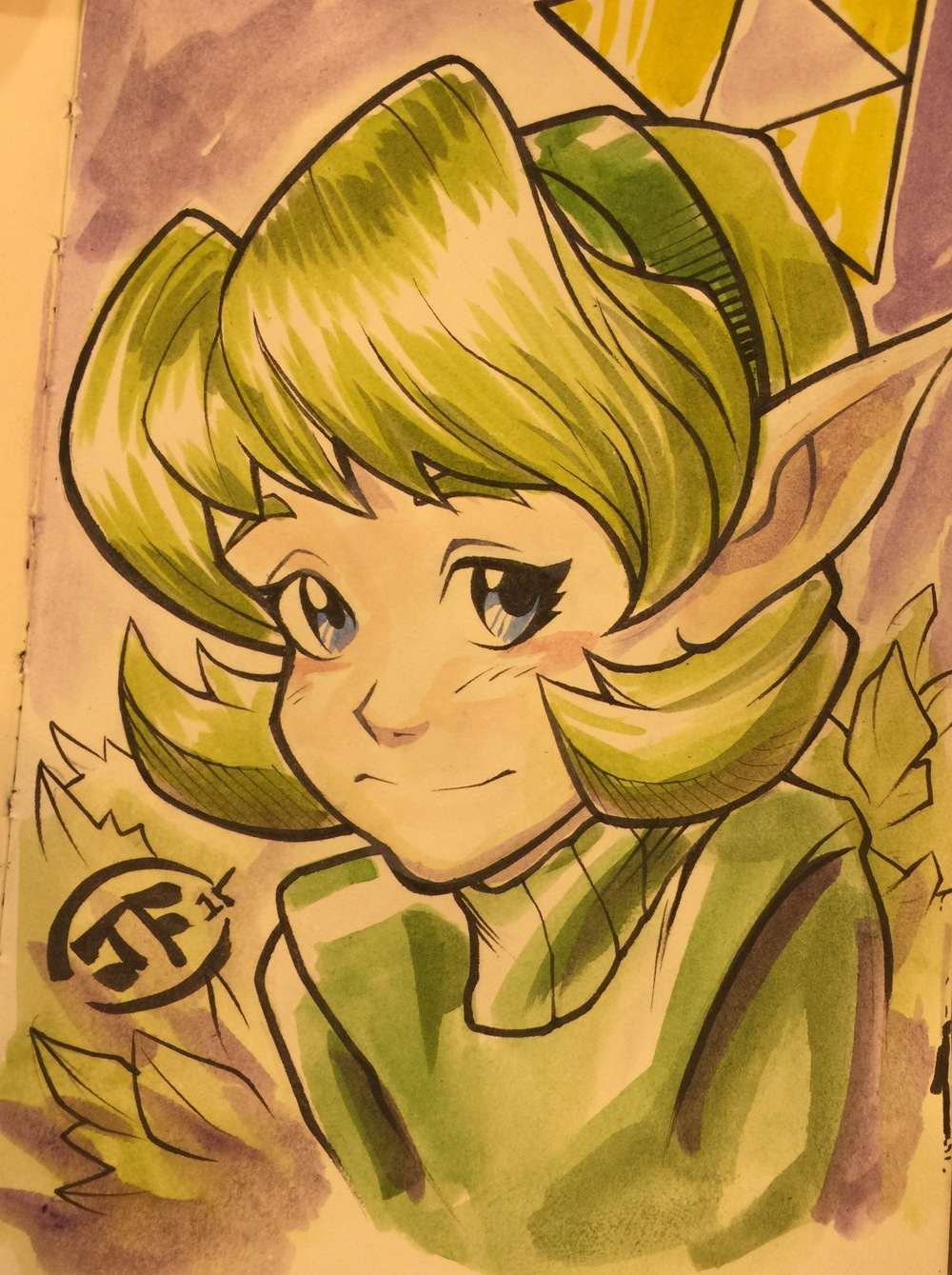 Saria Watercolor Commission Sketch (inks by Mostafa Moussa)