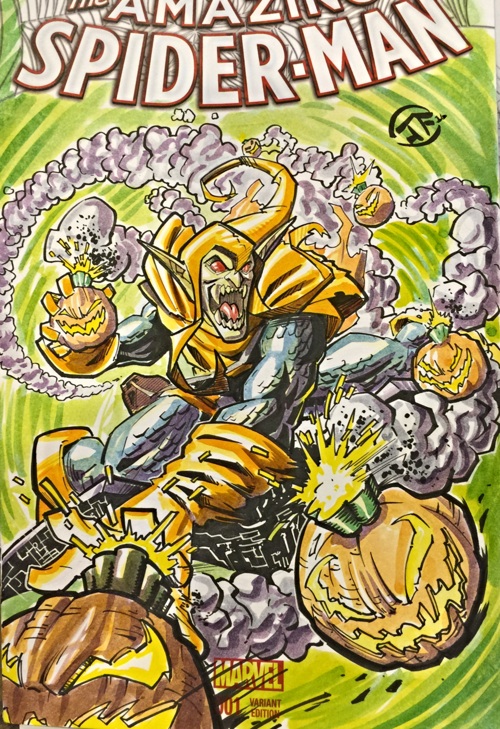 Hobgoblin Watercolor Commission Sketch done on a Blank Cover