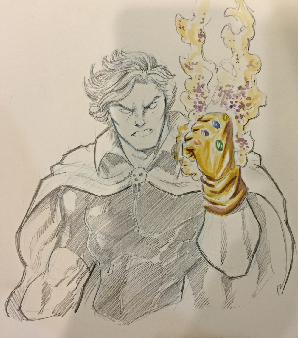 Adam Warlock Commission Sketch with a little watercolor