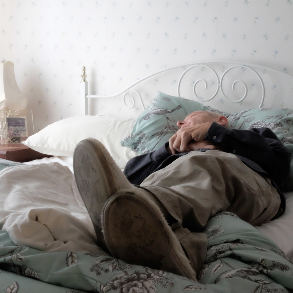 Dad resting on his return from hospital for the second time in one week.