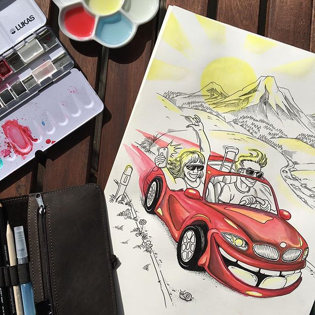 Fun doodle back from our vacation. Happy weekend everyone! Hope yours is gonna be as sunny as it is here right now 😎⛰ #vacation #doodle #ink #sun #watercolour #illustration #fun #car