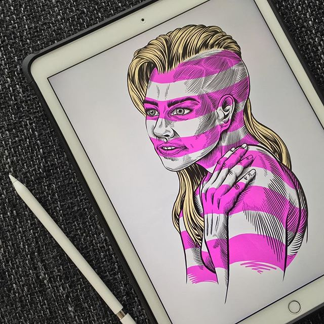 Saturday morning doodle for practice ended up with pink stripes. 🤗 Tried out the iPadPro #weekend #fun #stripes #ipad #ipadpro #doodleart #pen #couchpotato #art #portrait #pink #procreate